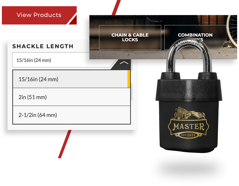 Image that highlights details from the Master Lock website such as buttons, product imagery, filter system, etc.